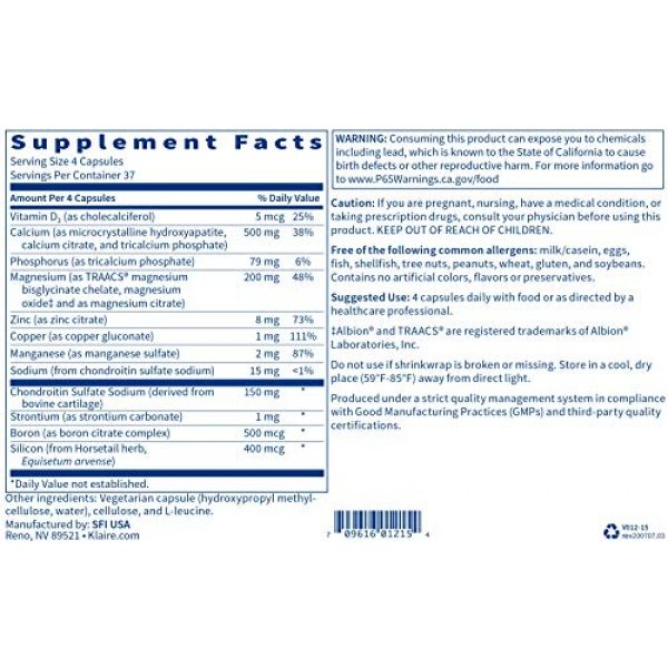 Klaire Labs Calcium Supplement 4 Klaire Labs Cal-Assimilate Plus - Triple Calcium Bone Support Complex with Vitamin D3, Key Minerals & Chondroitin Sulfate, Hypoallergenic & BSE-Free (150 Capsules)