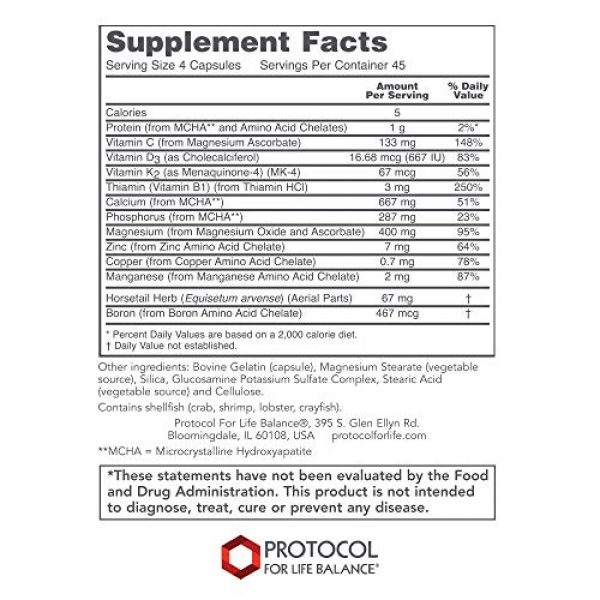 Protocol For Life Balance Calcium Supplement 2 Protocol For Life Balance - Bone Support Formula - with Magnesium and Vitamins C, D, K2 to Support Bone and Teeth Structure, Bone Density, Calcium Absorption, and Joint Pain Relief - 180 Capsules