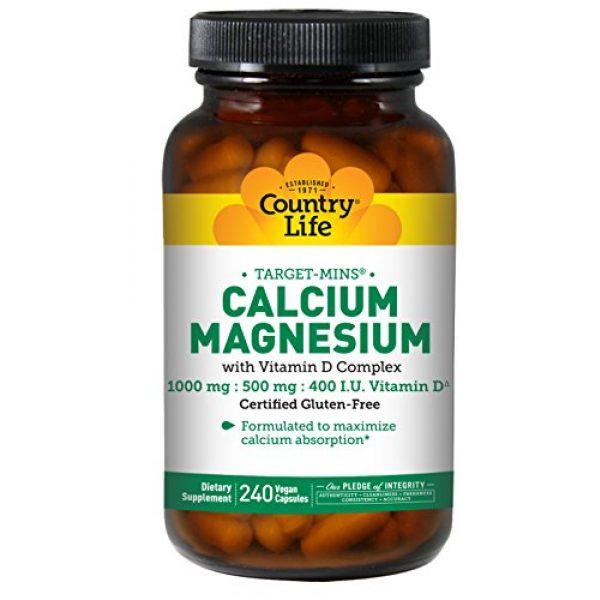 Country Life Calcium Supplement 1 Country Life, Calcium Magnesium, w/Vitamin D Complex, 240 Veggie Caps