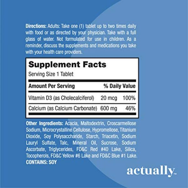 Actually Calcium Supplement 3 Actually Calcium & Vitamin D3 600mg Tablets, 120ct - Support Bone Health for Adults - 120-Day Supply
