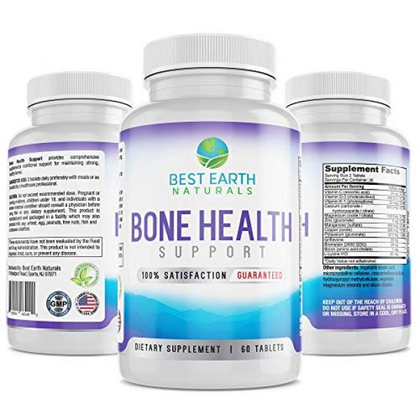 Best Earth Naturals Calcium Supplement 2 Bone Health Support for Men and Women with Calcium and Bone Vitamins to Maintain Strong, Healthy Bones - 60 Tablets