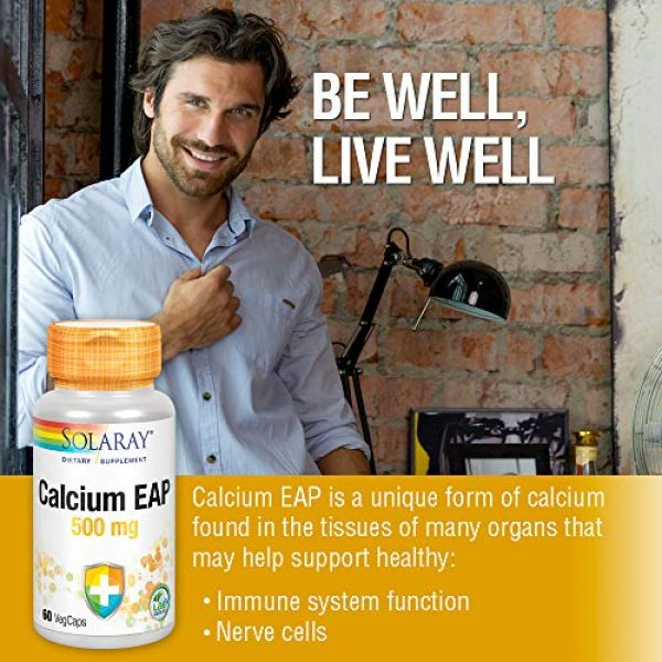 Solaray Calcium Supplement 3 Solaray Calcium EAP 500 mg   Aminoethyl Phosphate for Healthy Immune System Support   Lab Verified   60 VegCaps
