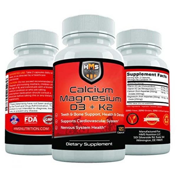 HMS Nutrition Calcium Supplement 2 HMS Nutrition Calcium, Magnesium, Vitamins D3 and K2 - 120 Vegan Capsules, 60 Day Supply - Supports Lung & Immune System Health, Strong Bones & Teeth - Non-GMO, Soy Free, & Dairy Free