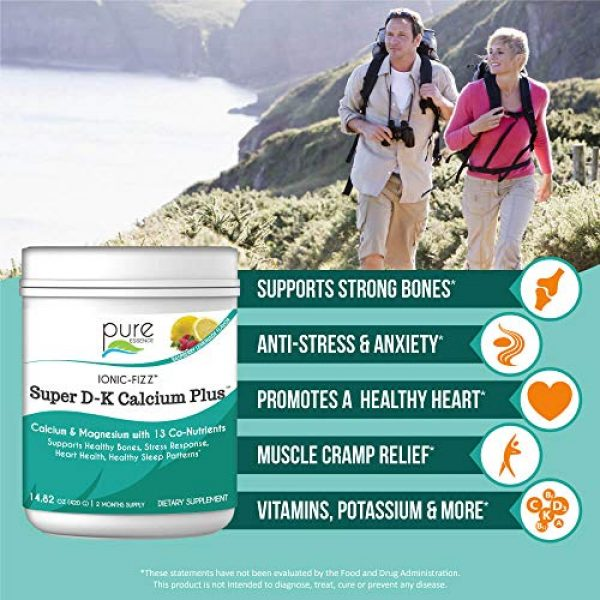 PURE ESSENCE LABS Calcium Supplement 3 Pure Essence Ionic Super D-K Calcium Plus by Pure Essence - With Extra Magnesium, Vitamin D3, Vitamin K2 For Strong Bones and Stress Relief - Raspberry Lemonade - 14.82oz