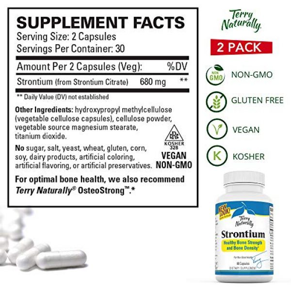 Terry Naturally Calcium Supplement 6 Terry Naturally Strontium (2 Pack) - 680 mg, 60 Vegan Capsules - Essential Mineral Supplement, Supports Bone Strength & Density - Non-GMO, Gluten-Free, Kosher - 60 Total Servings