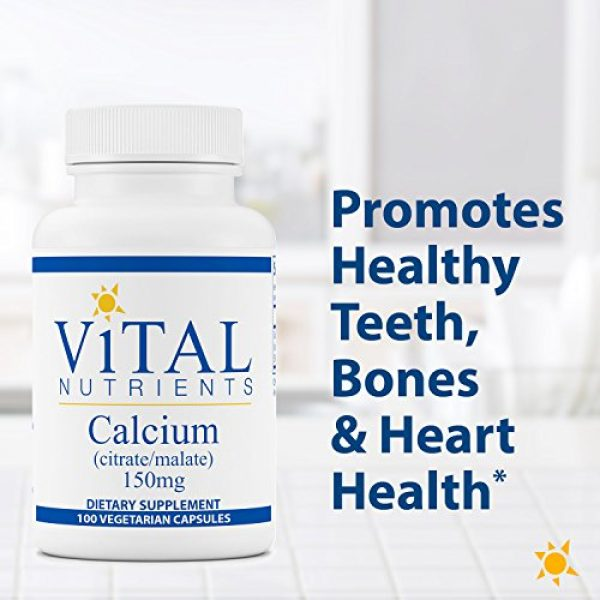 Vital Nutrients Calcium Supplement 3 Vital Nutrients - Calcium (Citrate/Malate) - Most Bioavailable Form of Calcium - 100 Vegetarian Capsules per Bottle - 150 mg