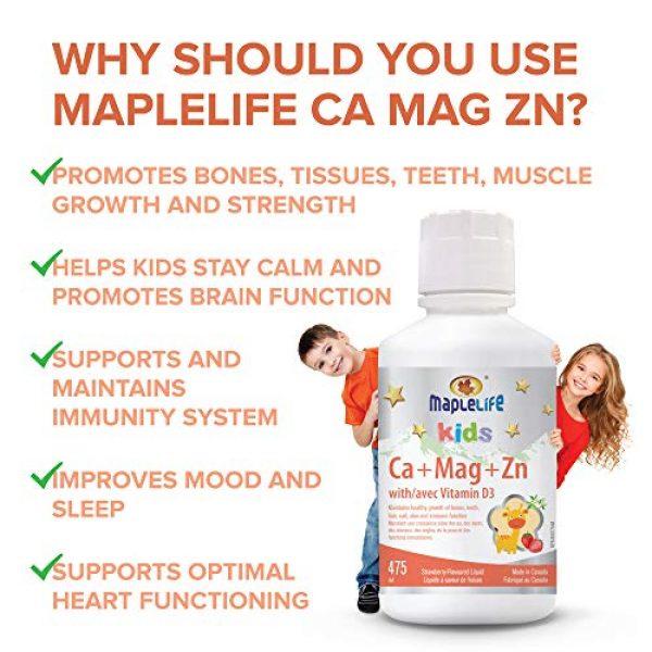 MapleLife Calcium Supplement 4 MapleLife Kids Calcium, Magnesium and Zinc + D Strawberry, 475 ml