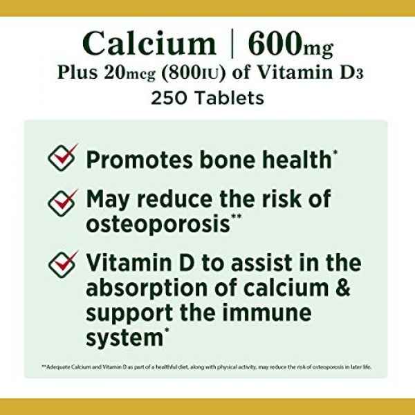 Nature's Bounty Calcium Supplement 4 Calcium Carbonate & Vitamin D by Nature's Bounty, Supports Immune Health & Bone Health, 600mg Calcium & 800IU Vitamin D3, 250 Tablets