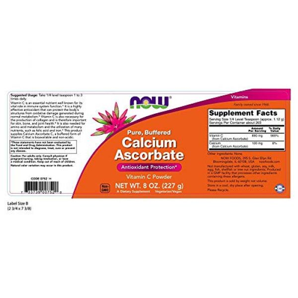 NOW Foods Calcium Supplement 2 NOW Supplements, Calcium Ascorbate Powder, Buffered, Antioxidant Protection*, 8-Ounce