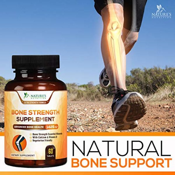 Nature's Nutrition Calcium Supplement 4 Bone Strength Supplements Calcium Formula - Vitamin K + D3, Magnesium, Potassium - Made in USA - Complete Bone Health Supplement to Support Growth, Mass, Density, Hardness - 60 Tablets