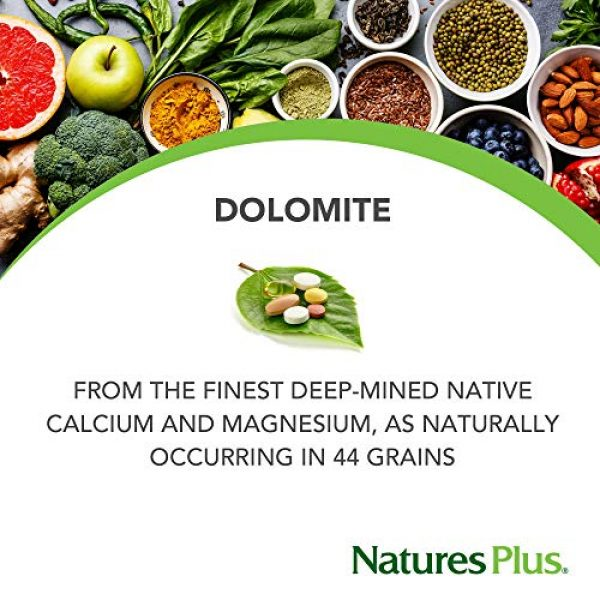 Nature's Plus Calcium Supplement 3 NaturesPlus Dolomite 44 Grain - 300 Vegetarian Tablets - Calcium & Magnesium Supplement, Heart Health Support, Promotes Healthy Bones - Hypoallergenic, Gluten-Free - 75 Servings