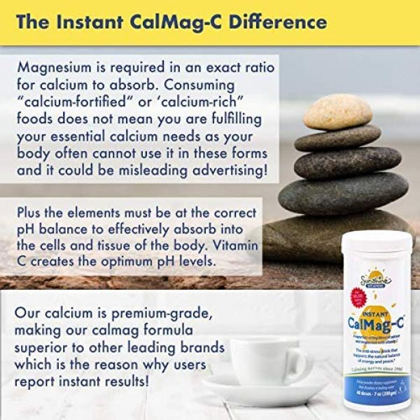 Sunshine Vitamins Calcium Supplement 4 Sunshine Vitamins Instant Cal Mag C - Calcium, Magnesium and Vitamin C for Better Sleep and Less Stress - Feel Calm and Relaxed - Super Fast Absorption to Blood, Muscles & Bones