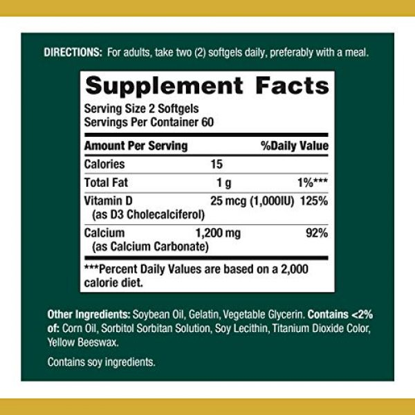 Nature's Bounty Calcium Supplement 3 Calcium Carbonate & Vitamin D by Nature's Bounty, Supports Immune Health & Bone Health, 1200mg Calcium & 1000IU Vitamin D3, 120 Softgels