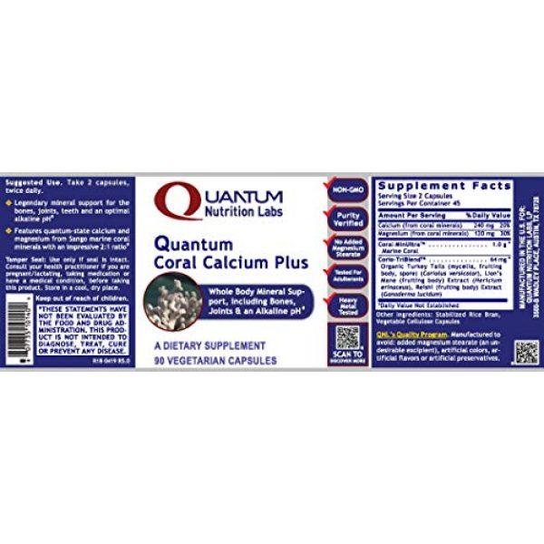 Quantum Nutrition Labs Calcium Supplement 2 Quantum Coral Calcium Plus, 90 Capsules - pH Alkalinizing Formula and Whole Body Mineral Support, Including The Bones, Joints, Teeth