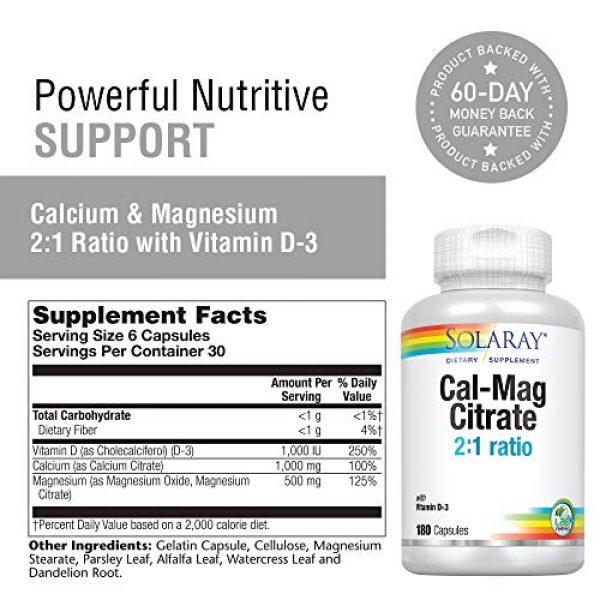 Solaray Calcium Supplement 2 Solaray Calcium & Magnesium Citrate 2:1 Ratio w/Vitamin D-3 | Healthy Bones, Muscle & Nervous System Support | High Absorption | 180 Capsules