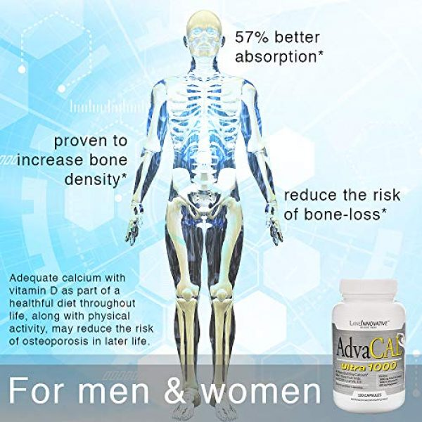 LANE LABS Calcium Supplement 6 Lane Innovative - AdvaCAL Ultra 1000, Bone-Building Calcium*, Including Vitamin D3 and Magnesium, Easy Absorption (120 Capsules, Pack of 3)
