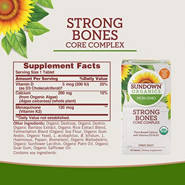 Sundown Calcium Supplement 6 Sundown Organics Strong Bones Core Complex, Plant-Based Calcium Supplement with Vitamin D3 & K2, Gluten Free, 100% Non-GMO, 30 Tablets