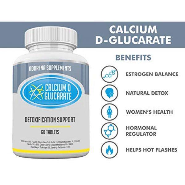 Addrena Calcium Supplement 5 Calcium D-Glucarate 500mg- CDG for Liver Detox, Cleanse, Menopause, Estrogen Management   60 Tablets Cal D Glucarate Supplements
