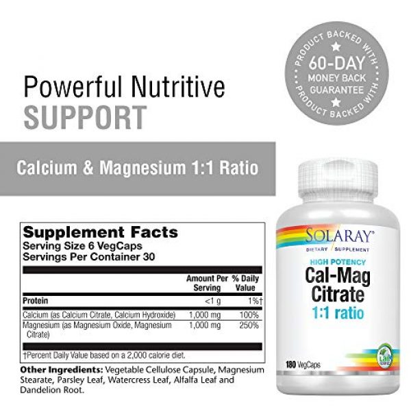Solaray Calcium Supplement 2 Solaray Cal-Mag Citrate 1:1   Calcium & Magnesium Citrate   for Healthy Bones, Teeth, Muscle & Nervous System Function   High Absorption   180 Count