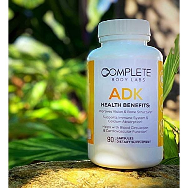 Complete Body Labs Calcium Supplement 5 Complete Body Labs ADK, Vitamin A D3 & K2 (MK-7), Support Strong Bone Structure, Ocular Health, Immune Function, Calcium Absorption & Cardiovascular Health, 90 Capsules, Non-GMO Ingredients