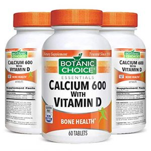 Botanic Choice Calcium Supplement 1 Botanic Choice Calcium 600 with Vitamin D - Adult Daily Supplement - Combines Essential Vitamins and Minerals to Support Proper Absorption Promotes Bone Health and Overall Wellness