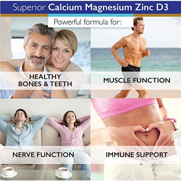 SuperiorLabs Calcium Supplement 5 Superior Labs - Calcium Magnesium Zinc D3 - Essential Mineral Trio - 180 Vegetable Capsules - Healthy Bones & Teeth - Nerve Signaling - Muscle Function - Immune Support