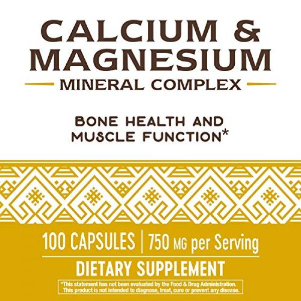 Nature's Way Calcium Supplement 5 Nature's Way Calcium & Magnesium Mineral Complex, 750 mg per serving, 100 Capsules (Packaging May Vary)