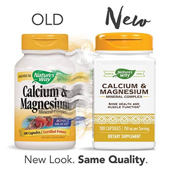 Nature's Way Calcium Supplement 2 Nature's Way Calcium & Magnesium Mineral Complex, 750 mg per serving, 100 Capsules (Packaging May Vary)