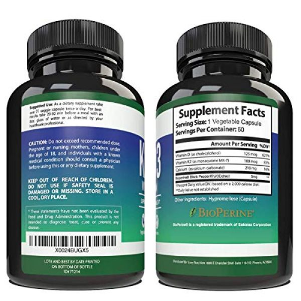 Envy Nutrition Calcium Supplement 2 K2 D3 with Calcium Supplement - Bone Health Vitamin for Men and Women - Support Mobility, Immunity, Strength, and Vitality - Enhanced Absorption with BioPerine - 30 Day Supply - 60 Capsules