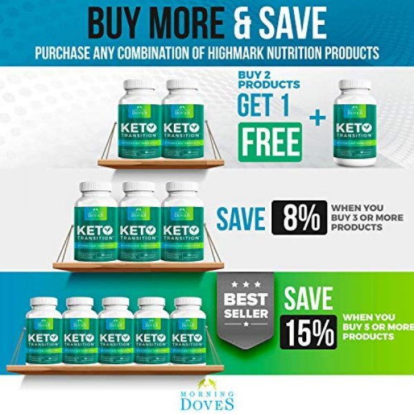 Morning Doves Calcium Supplement 7 Morning Doves Keto Pills :: KetoTransition Supplement with BHB :: cGMP Compliant Food Grade :: Exogenous Ketones Pills Optimally Formulated for Transition to Ketosis