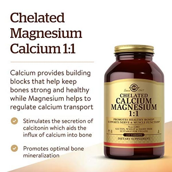 Solgar Calcium Supplement 3 Solgar Chelated Calcium Magnesium 1:1, 240 Tablets - Promotes Healthy Bones - Supports Nerve & Muscle Function - Non-GMO, Vegan, Gluten Free, Dairy Free, Kosher, Halal - 60 Servings