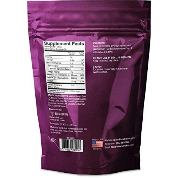 BariatricPal Calcium Supplement 2 BariatricPal Sugar-Free Calcium Citrate Soft Chews 500mg with Probiotics - Wild Grape (1-Pack (90ct))