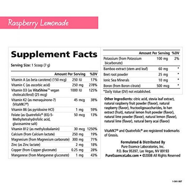 PURE ESSENCE LABS Calcium Supplement 4 Pure Essence Ionic Super D-K Calcium Plus by Pure Essence - With Extra Magnesium, Vitamin D3, Vitamin K2 For Strong Bones and Stress Relief - Raspberry Lemonade - 14.82oz
