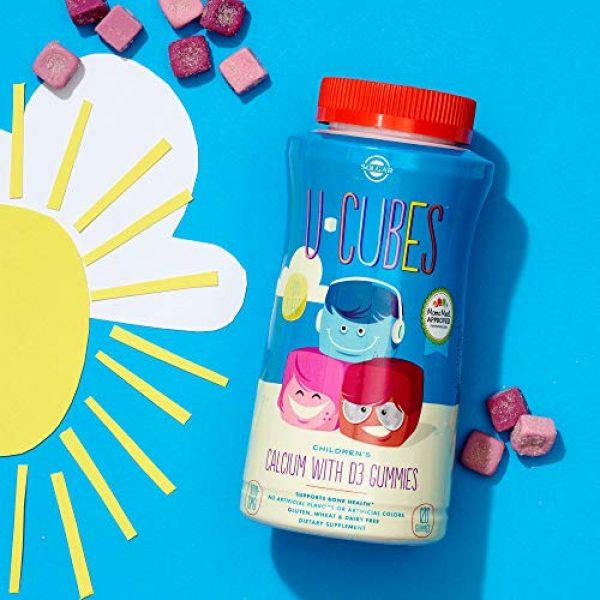 Solgar Calcium Supplement 5 Solgar U-Cubes Children's Calcium with Vitamin D3, 120 Gummies - 3 Flavors, Pink Lemonade, Blueberry & Strawberry - Supports Bone & Teeth Health - Non GMO Gluten Free, Dairy Free - 60 Servings