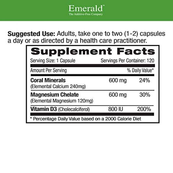 Emerald Labs Calcium Supplement 2 Coral Calcium Plus -Highly Ionizable Coral Calcium from the Caribbean Sea - Helps Balance pH Levels, Support Strong Bones & Teeth, Weight Loss - Emerald Laboratories - 120 Vegetable Capsules