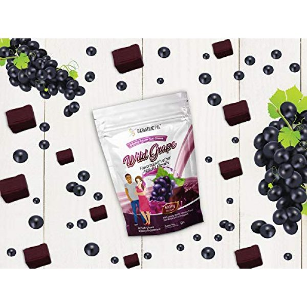 BariatricPal Calcium Supplement 5 BariatricPal Sugar-Free Calcium Citrate Soft Chews 500mg with Probiotics - Wild Grape (1-Pack (90ct))