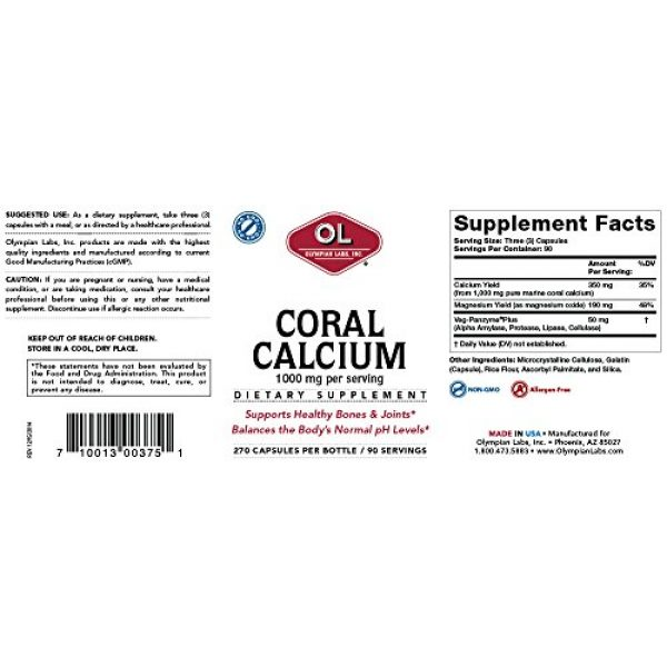 Olympian Labs Calcium Supplement 2 Olympian Labs Coral Calcium, 1g Per Serving, 1000 mg, 270 Capsules