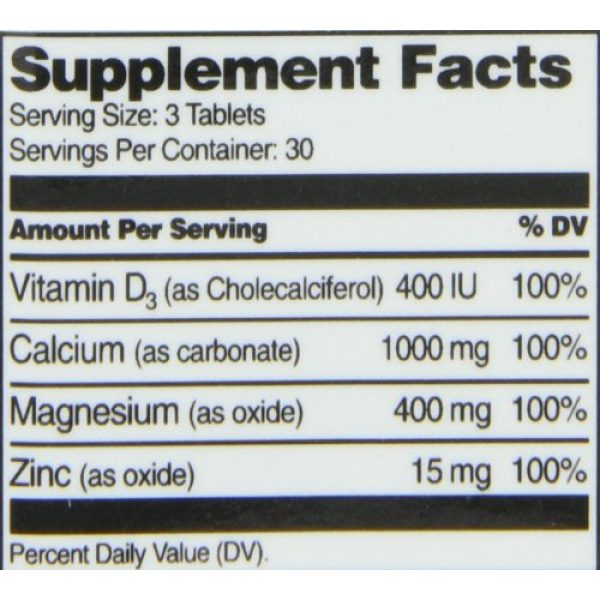 21st Century Calcium Supplement 4 21st Century Cal Mag Zinc +D Tablets, 90 Count (Pack of 2)