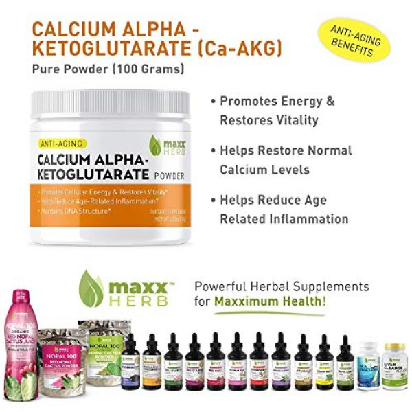 Maxx Herb Calcium Supplement 2 Maxx Herb Calcium Alpha - Ketoglutarate (Ca-AKG) Pure Powder (100 Grams) for Energy, Vitality, Mental Focus, Clarity & DNA Structure, Non-GMO and Gluten Free (1 Jar) 67 Servings
