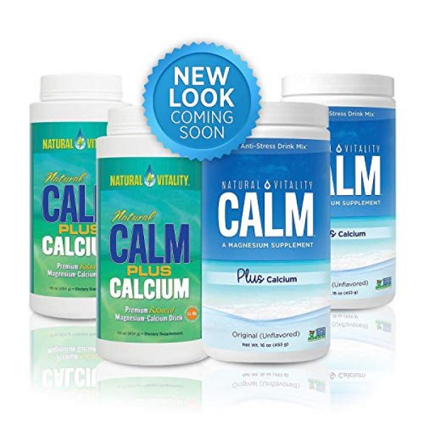 Natural Vitality Calcium Supplement 2 Natural Vitality Natural Magnesium Calm Plus Calcium, (2 Bottles of 16 Ounce)