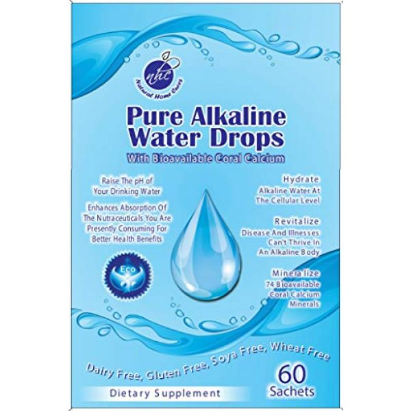 Natural Home Cures Calcium Supplement 1 Pure Alkaline Water Drops With Bioavailable Australian Great Barrier Reef Coral Calcium & Immune Booster Support - Makes Pure, Fresh, Ionic Mineral pH Alkaline Water (1 Package Is Good For 60 Gallons)