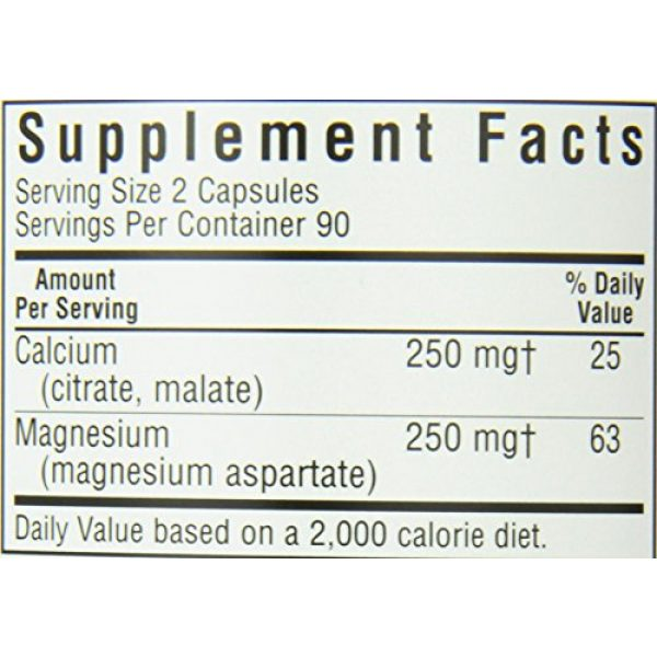 BlueBonnet Calcium Supplement 5 BlueBonnet Calcium Magnesium 1:1 Ratio Vegetarian Capsules, 180 Count, White
