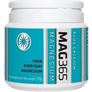 Mag365 Calcium Supplement 1 Vegan Magnesium Powder Plus Calcium & Zinc - Promotes Bone Support - Vitamins D3 & K2 - 210g