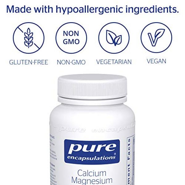 Pure Encapsulations Calcium Supplement 4 Pure Encapsulations Calcium Magnesium (Citrate) | Supplement for Bone Strength, Muscle Cramp and Tension Relief, Teeth, and Cardiovascular Health* | 180 Capsules