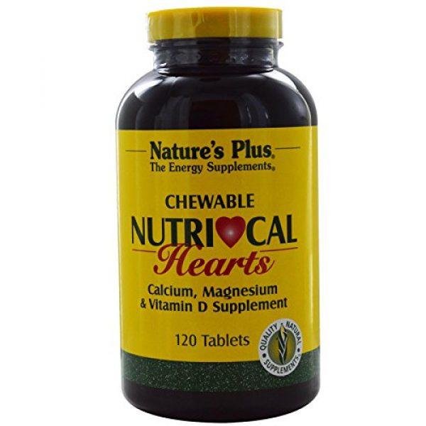 Nature's Plus Calcium Supplement 1 NaturesPlus Nutri-Cal Hearts Chewables - 500 mg Calcium, 120 Tablets - Vanilla Flavor - Calcium, Magnesium & Vitamin D Supplement - Supports Healthy Bones & Natural Energy Production - 60 Servings