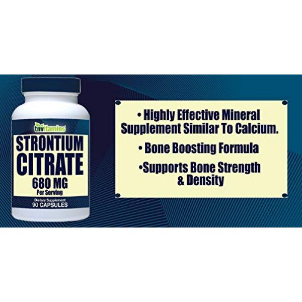 TNVitamins Calcium Supplement 2 Strontium Citrate Supplement   680 Mg - 90 Capsules   Bone Strength, and Bone Support Formula   Strontium Supplement for Bone Health, Density   Similar Mineral to Calcium   Supports Healthy Teeth