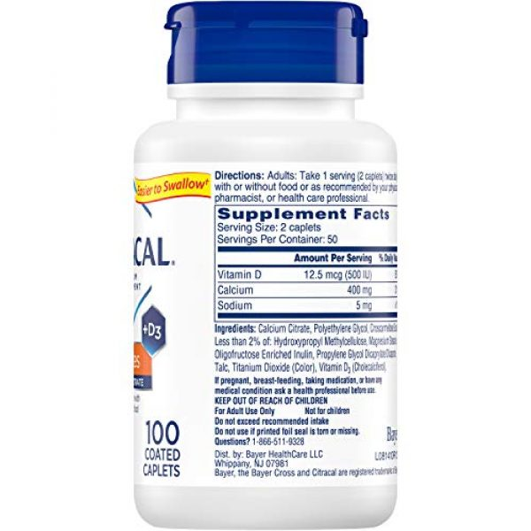 CITRACAL Calcium Supplement 5 Citracal Petites Tablets with Vitamin D 100 Tablets (Pack of 3)
