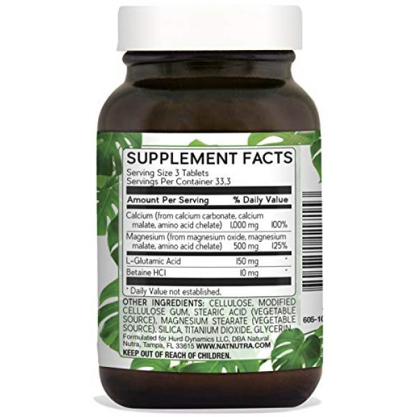 Natural Nutra Calcium Supplement 2 Natural Nutra Chelated Cal Mag 1000/500 mg Supplement Plus Betaine HCL, Improves Bone Strength and Density, Muscle Health, Healthy Teeth, Supports Cardiovascular System, Nerve Health, 250 Vegan Tablet