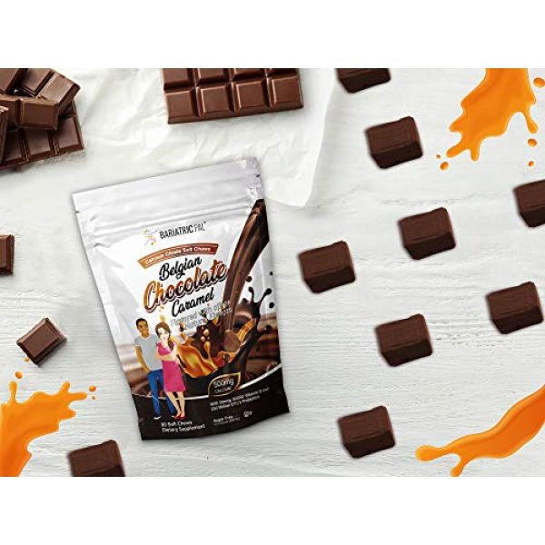BariatricPal Calcium Supplement 4 BariatricPal Sugar-Free Calcium Citrate Soft Chews 500mg with Probiotics - Belgian Chocolate Caramel (1-Pack (90 Count))