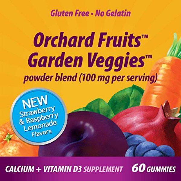 Nature's Way Calcium Supplement 5 Nature's Way Premium Calcium + D3 Gummy + Orchard Fruits/Garden Veggies Blend, 60 Cherry & Strawberry Gummies